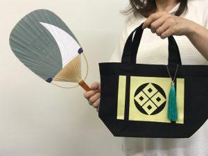 丸亀の名刀「ニッカリ青江」をモチーフにしたトートバッグ・うちわ